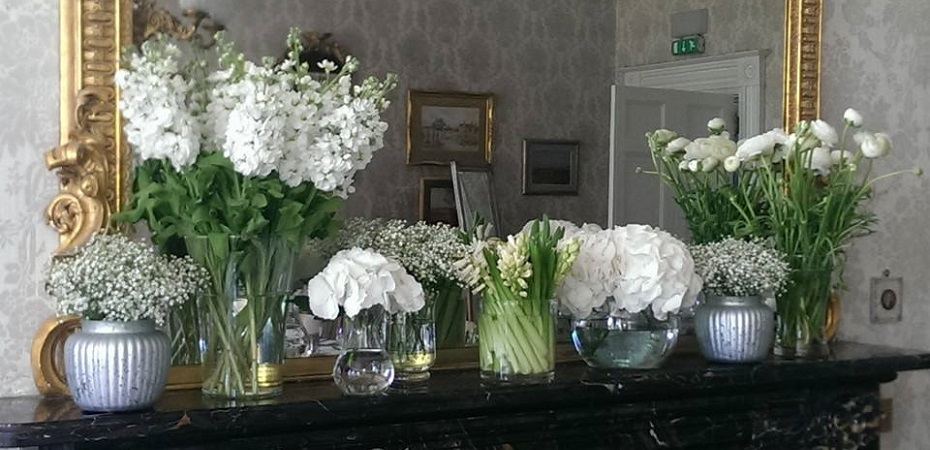 White arrangement, display